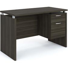 "Heartwood Mira Desk - 2-Drawer - 48"" x 24"" x 29"" - 2 x Box Drawer(s), File Drawer(s) - Single Pedestal - Material: Polyvinyl Chloride (PVC) Edge - Finish: Gray Dusk, Wood Grain Work Surface, Melamine Work Surface"