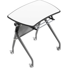 """Heartwood Flip Top Nesting Training Table - White Laminate Top - Gray Base - 29.5"""" Table Top Width x 21.8"""" Table Top Depth x 1"""" Table Top Thickness - 29.5"""" Height - Assembly Required"""