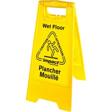 Impact Products English/French Wet Floor Sign - 1 Each - Yellow, Black