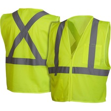 Impact Products Hi-Vis Work Wear Safety Vest - Reflective Strip, Lightweight - Large Size - Visibility Protection - Zipper Closure - Polyester Mesh - Multi - 1 Each