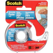 """Scotch Removable Poster Tape - 12.5 ft (3.8 m) Length x 0.75"""" (19.1 mm) Width - Dispenser Included - 1 Each - Clear"""