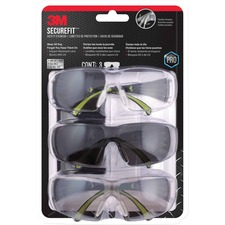 3M SecureFit Safety Eyewear - Anti-fog, Lightweight, Impact Resistant,  Padded - Ear, UVA, UVB, Eye Protection - Assorted - 3 / Pack