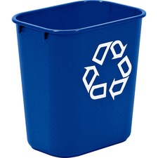 """Rubbermaid Commercial Blue Deskside Recycling Container - 12.90 L Capacity - Compact - 12.1"""" Height x 8.2"""" Width x 11.4"""" Depth - Blue - 1 Each"""