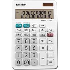 "Sharp 12-Digit Desktop Calculator - Dual Power, Auto Power Off, Built-in Memory, Double Zero - 12 Digits - LCD - Battery/Solar Powered - 0.6"" x 4.4"" x 6.6"" - White - 1 Each"