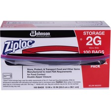 "Ziploc® Double Zipper Gallon Storage Bags - Extra Large Size - 7.57 L - 13"" (330.20 mm) Width x 15.63"" (396.88 mm) Depth - 2.70 mil (69 Micron) Thickness - Clear - Plastic - 100/Carton - Food, Vegetables, Fruit, Cosmetics, Yarn, Business Card, Mattress, Meat, Poultry, Seafood"