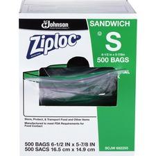 "Ziploc® Sandwich Bags - 6.50"" (165.10 mm) Width x 5.88"" (149.23 mm) Depth - 1.20 mil (30 Micron) Thickness - Clear - 500/Carton - Sandwich, Food, Fruit"