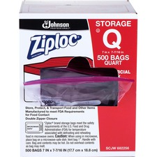 """Ziploc® Quart Storage Bags - Medium Size - 946.35 mL - 7"""" (177.80 mm) Width x 7.44"""" (188.91 mm) Depth - 1.75 mil (44 Micron) Thickness - Clear - Plastic - 500/Carton - Food, Vegetables, Fruit, Cosmetics, Yarn, Business Card, Map, Meat, Poultry, Seafood"""