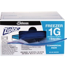 "Ziploc® Gallon Freezer Bags - Large Size - 3.79 L - 10.56"" (268.29 mm) Width x 10.75"" (273.05 mm) Depth - 2.70 mil (69 Micron) Thickness - Clear - 250/Carton - Meat, Food, Poultry, Seafood"