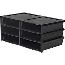 "Storex 6-compartment Litreature Sorter - 500 x Sheet - 6 Compartment(s) - 2"" Height x 8.8"" Width11.5"" Length - Black - Plastic - 1 Each"