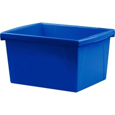 Storex Storage Case - 15 L - Stackable - Plastic - Blue - For Tool, Classroom Supplies - 1 Each