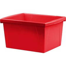 Storex Teal 4 Gallon Storage Bin - 15 L - Stackable - Plastic - Red - For Tool, Classroom Supplies - 1 Each
