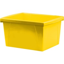 Storex Teal 4 Gallon Storage Bin - 15 L - Stackable - Plastic - Yellow - For Tool, Classroom Supplies - 1 Each
