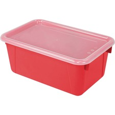 """Storex Clear Lid Small Cubby Bin - 5.1"""" Height x 7.8"""" Width12.2"""" Length - Clear, Red Lid - Plastic - 1 Each"""