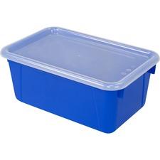 "Storex Clear Lid Small Cubby Bin - 5.1"" Height x 7.8"" Width12.2"" Length - Clear, Blue Lid - Plastic - 1 Each"