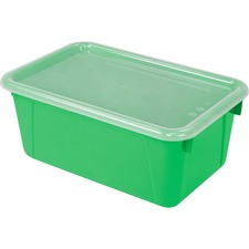 "Storex Clear Lid Small Cubby Bin - 5.1"" Height x 7.8"" Width12.2"" Length - Clear, Green Lid - Plastic - 1 Each"