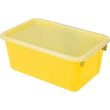 """Storex Clear Lid Small Cubby Bin - 5.1"""" Height x 7.8"""" Width12.2"""" Length - Clear, Yellow Lid - Plastic - 1 Each"""