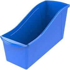 """Storex Book Bin Set - 7"""" Height x 5.3"""" Width14.3"""" Length - Blue - Plastic"""