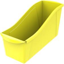 "Storex Book Bin Set - 7"" Height x 5.3"" Width14.3"" Length - Yellow - Plastic - 6 / Set"