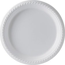 "Dart Plastic Dinnerware - 9"" (228.60 mm) Diameter Plate - Plastic - Disposable - White - 25 Piece(s) / Pack"
