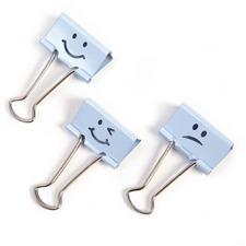 "Victor Emoji Design Binder Clips - 0.30"" (7.62 mm) Length x 1.40"" (35.56 mm) Width - for Classroom, Office - Durable - 20 / Pack - Blue"