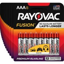 RAY 8248TFUSKCT Rayovac Fusion Alkaline AAA Batteries RAY8248TFUSKCT