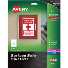 AVE 61511 Avery Surface Safe Sign Labels AVE61511