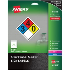 AVE 61513 Avery Surface Safe Sign Labels AVE61513