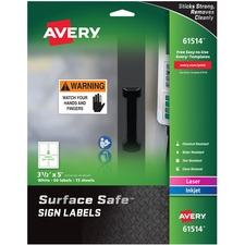 AVE 61514 Avery Surface Safe Sign Labels AVE61514