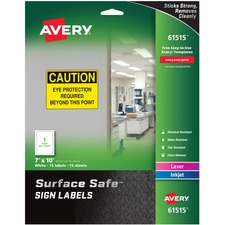 AVE 61515 Avery Surface Safe Sign Labels AVE61515