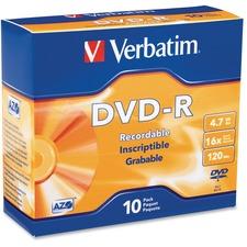 VER 95099 Verbatim 16X Branded DVD-R Slim VER95099