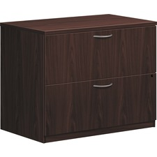 """HON Foundation 2-Drawer Lateral File - 35.5"""" x 22"""" x 29"""" - 2 x File Drawer(s) - Material: Metal Handle - Finish: Mahogany, Thermofused Laminate (TFL), Silver Handle"""