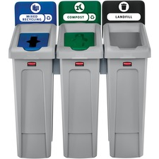 RCP 2007918 Rubbermaid Comm. Slim Jim Recycling Station RCP2007918