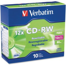 VER 95156 Verbatim Branded Surface 700MB 12X CD-RW VER95156