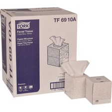 "TORK Premium Facial Tissue Cube Box - 2 Ply - 8"" x 8"" - White - Paper - Soft, Absorbent, Low Linting - For Face - 94 Per Box - 3384 Sheet"