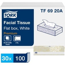 Tork Facial Tissue Flat Box White - Tork Facial Tissue Flat Box White F1, Premium, 2-Ply, 30 x 100 Sheets, TF6920A