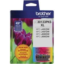 Brother LC30133PKS Original Ink Cartridge - Tri-pack - Cyan, Magenta, Yellow - Inkjet - High Yield - 400 Pages - 2 / Pack
