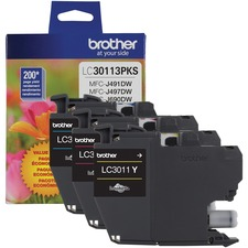 Brother LC30113PKS Original Ink Cartridge - Tri-pack - Cyan, Magenta, Yellow - Inkjet - Standard Yield - 200 Pages - 2 / Pack
