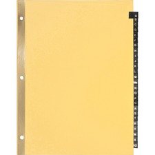 """Business Source A-Z Black Leather Tab Index Dividers - 26 Printed Tab(s) - Character - A-Z - 8.50"""" Divider Width x 11"""" Divider Length - Letter - 3 Hole Punched - Buff Paper Divider - Black Leather Tab(s) - 25 / Set"""
