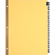 BSN 01183 Bus. Source Mthly Black Leather Tab Index Dividers BSN01183