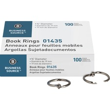 """Business Source Standard Book Rings - 0.8"""" Length - Silver - 100 / Box"""