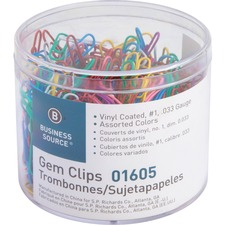 BSN 01605 Bus. Source Vinyl-coated Gem Clips BSN01605
