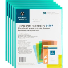 BSN 01797BX Bus. Source Transparent Poly File Holders BSN01797BX