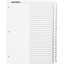 """Business Source Table of Content Quick Index Dividers - Printed Tab(s) - Digit - 1-31 - 31 Tab(s)/Set - 8.50"""" Divider Width x 11"""" Divider Length - 3 Hole Punched - White Divider - White Mylar Tab(s) - 31 / Set"""