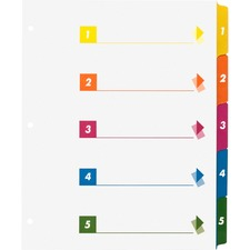 Business Source Color-coded Table of Contents/Tabs Index Dividers - Printed Tab(s) - Digit - 1-5 - 5 Tab(s)/Set - 3 Hole Punched - White Divider - Multicolor Mylar Tab(s) - 24 / Box