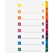 Business Source Color-coded Table of Contents/Tabs Index Dividers - Printed Tab(s) - Digit - 1-8 - 8 Tab(s)/Set - 3 Hole Punched - White Divider - Multicolor Mylar Tab(s) - 24 / Box