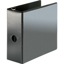 """Business Source Locking D-Ring View Binder - 5"""" Binder Capacity - Letter - 8 1/2"""" x 11"""" Sheet Size - 925 Sheet Capacity - D-Ring Fastener(s) - Polypropylene, Chipboard - Black - Recycled - Locking Ring, Clear Overlay, Non-glare, Acid-free, Exposed Rivet, Sturdy"""