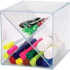 "Business Source X-Cube Storage Organizer - 4 Compartment(s) - 6"" Height x 6"" Width x 6"" Depth - Desktop - Clear"