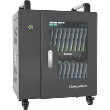 "ChargeTech USB Powered UV Charging Cabinet - 4 Casters - x 21.9"" Width x 14.5"" Depth x 22.3"" Height - Black - For 20 Devices - 1 Each"