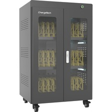 "ChargeTech AC Powered UV Charging Cabinet - 4 Casters - x 26.2"" Width x 21.7"" Depth x 41.3"" Height - Black - For 30 Devices - 1 Each"