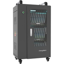 "ChargeTech USB Powered UV Charging Cabinet - 4 Casters - x 21.9"" Width x 15.5"" Depth x 33.2"" Height - Black - For 30 Devices - 1 Each"